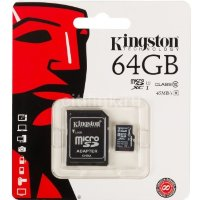 Карта памяти 64Gb MicroSDHC Class 10 Kingston  адаптер SD